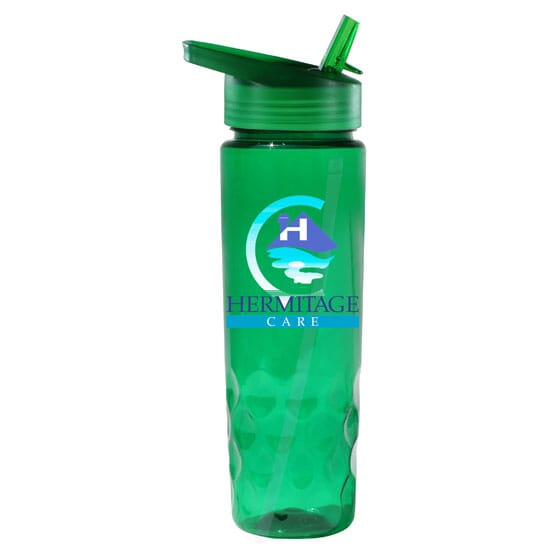 24 Oz Translucent Water Bottle With Straw Cap