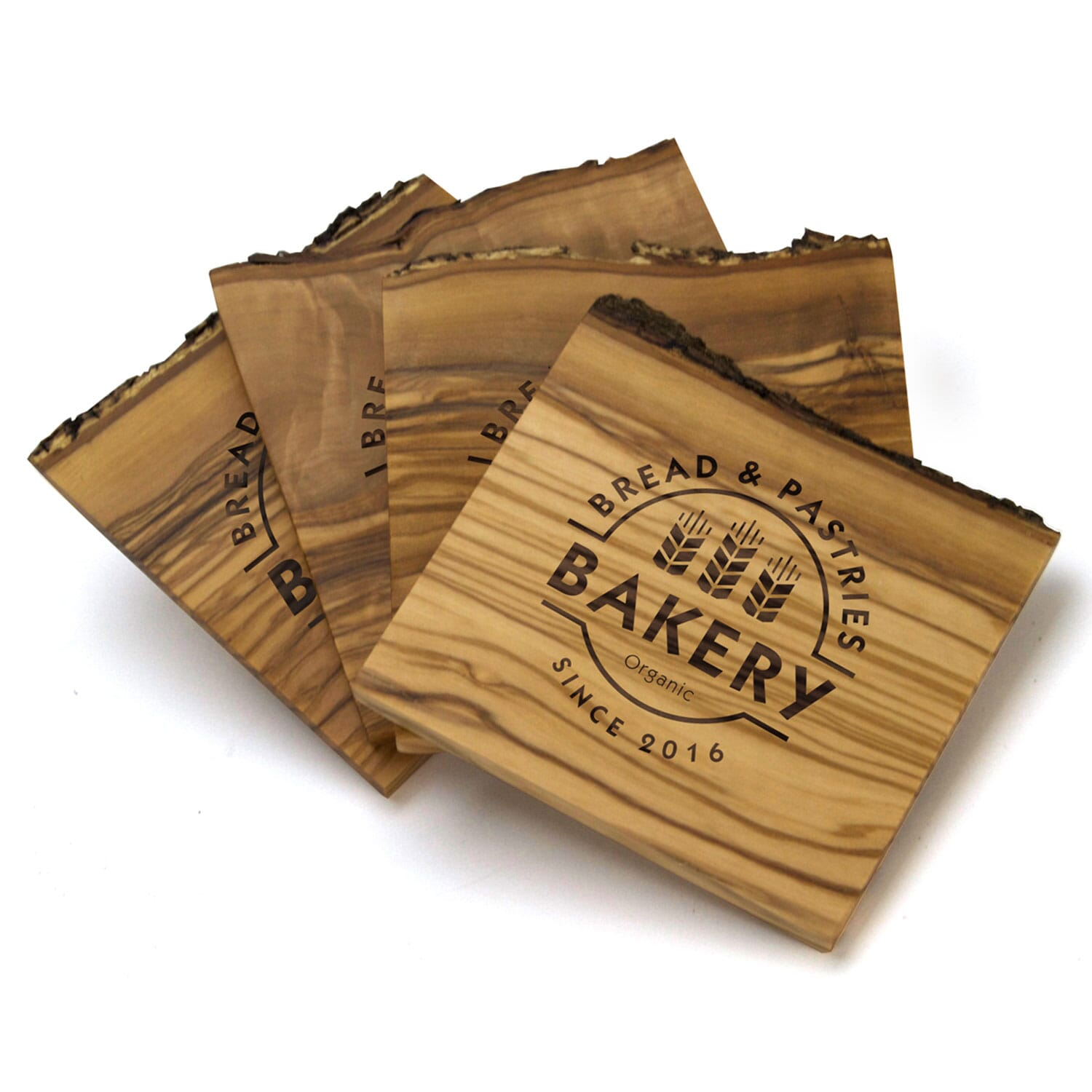 Laser Engraved Natural Olive Wood Coaster Set