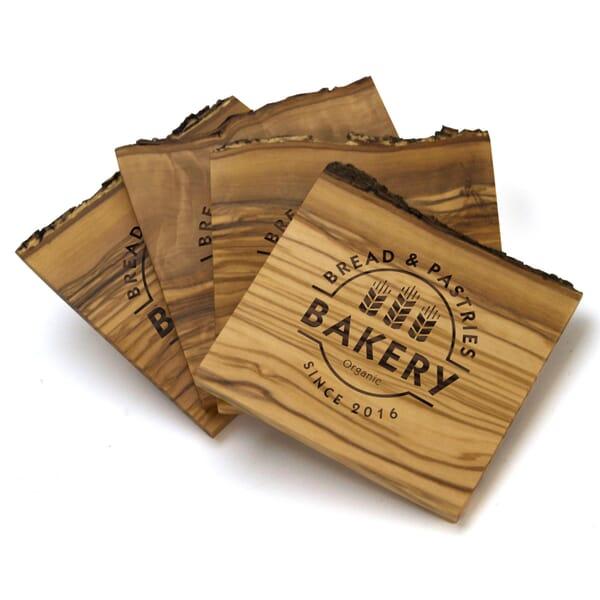 Natural Olive Wood Coaster Set