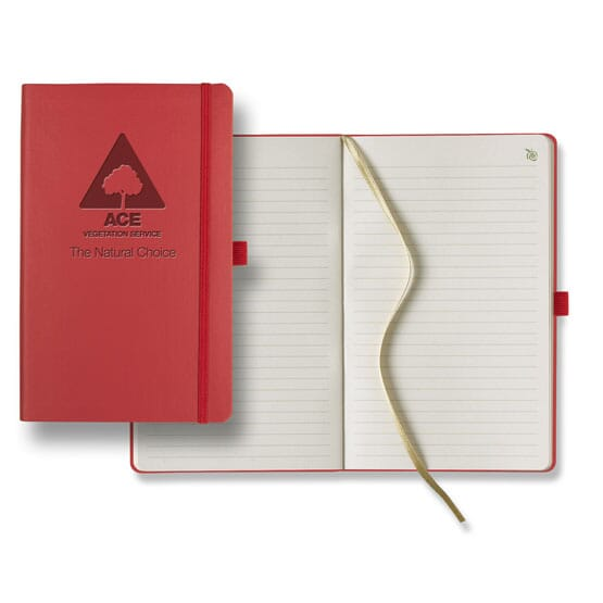 Red eco-friendly journal made with recycle apple peel