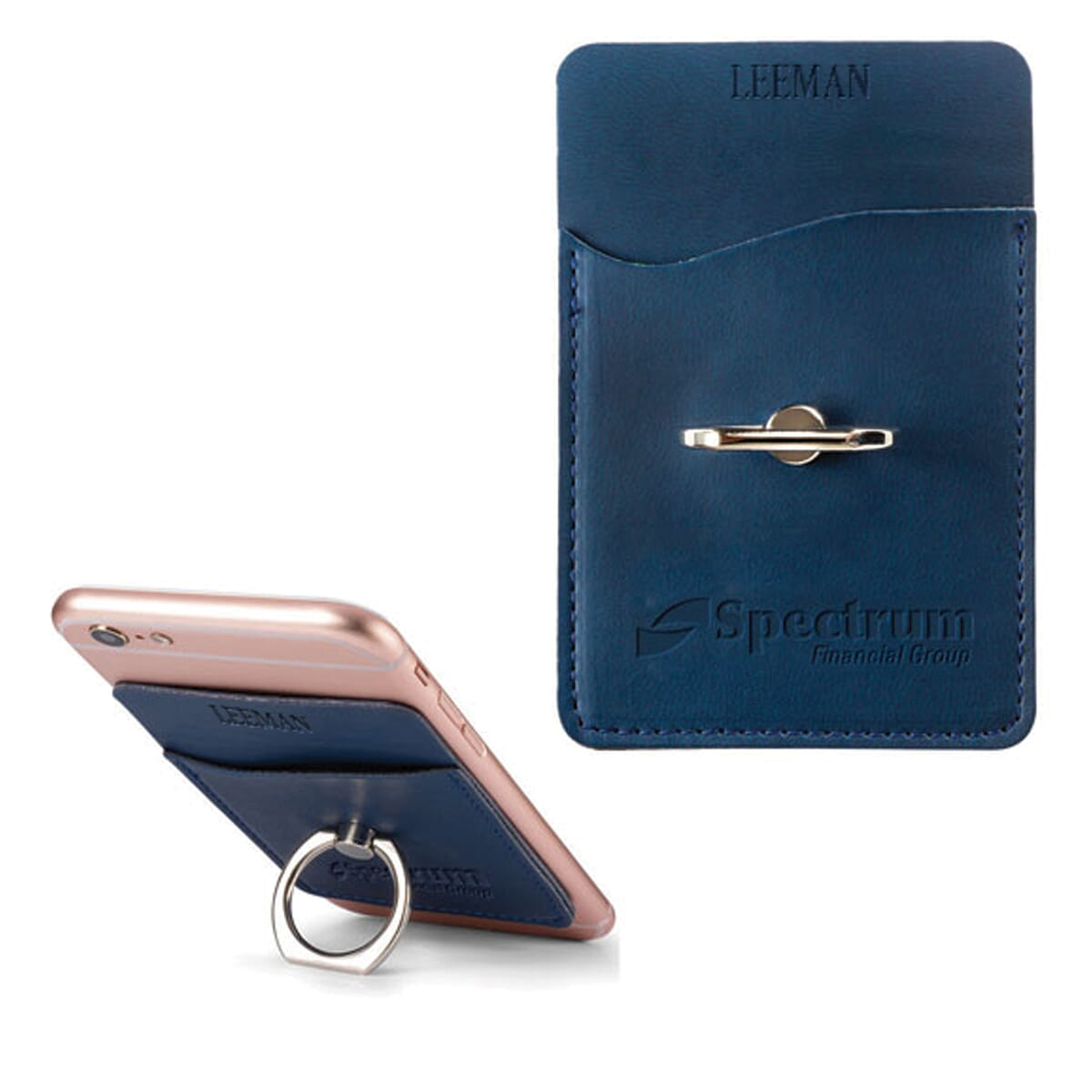 Dark blue leather-like phone wallet with silver ring grip and debossed logo.