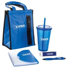 Royal blue 5 piece set, lunch bag, tumbler, notebook, charger, pen