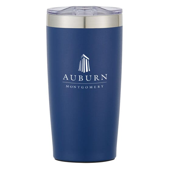 Blue and stainless steel insulated tumbler