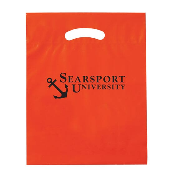 """12"""" x 15"""" Plastic Bag with Fold-Over Die-Cut Handles"""