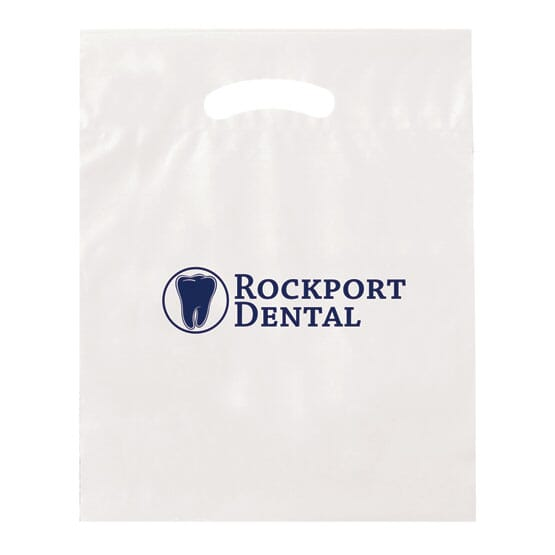 """15"""" x 19"""" Plastic Bag with Fold-Over Die Cut Handles"""