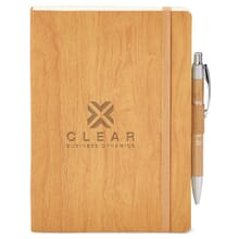 Brown woodgrain-look journal with debossed logo and attached pen
