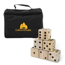 Lawn dice game with imprinted bag