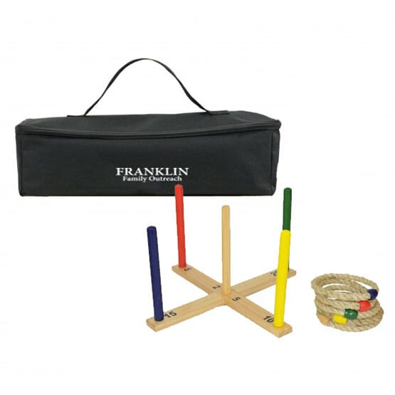 Outdoor wooden ring toss game
