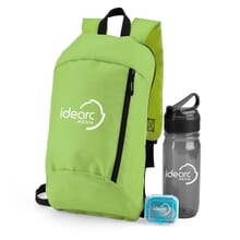 Wellness set of backpack, pedometer, and water bottle