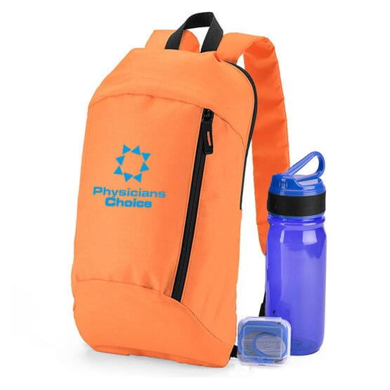 Backpack, bottle, and pedometer set