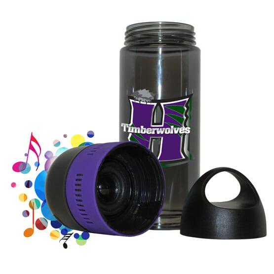 Water bottle with bluetooth speaker lid