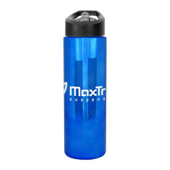 24 oz Metallic Bottle with Pop-Up Straw