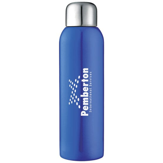 Blue stainless steel water bottle with logo