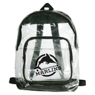 Clear backpack with black accents