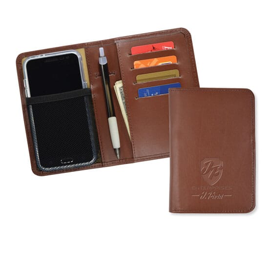 Brown suede-like folding phone wallet