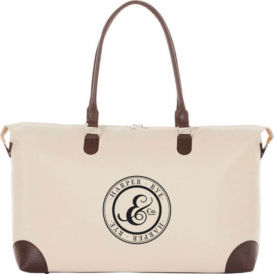 Tan Nylon Tote with Pebble Vinyl Accents