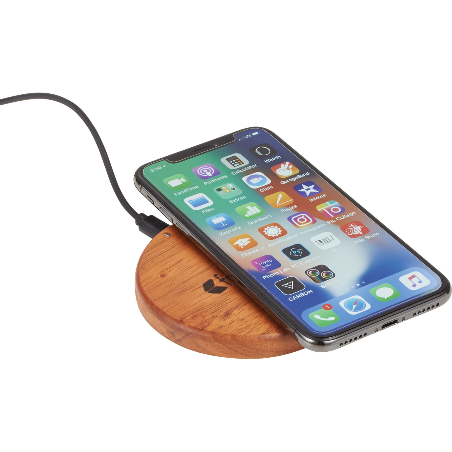 Natural wooden wireless charging pad with engraved logo
