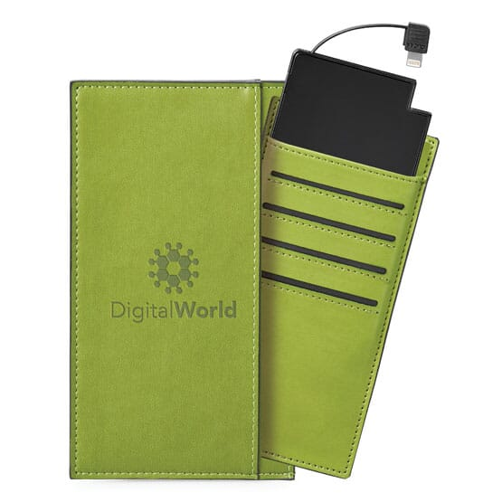 Green vinyl power bank and card holder with debossed logo.