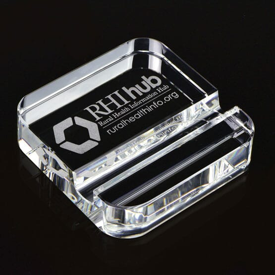 Laurel Square Crystal Paperweight