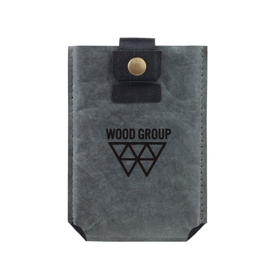 Dark grey phone wallet with black logo and snap closure.