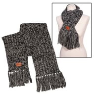 Grey heathered knit scarf with fringe and brown leatherette logo patch