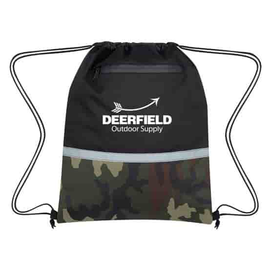 Camo and Black Color Block Drawstring Backpack