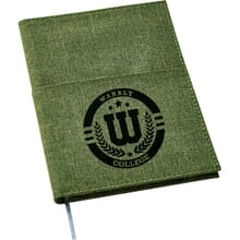 Green polycanvas notebook with black logo