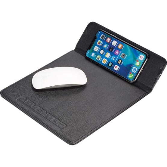 Mouse pad and wireless charging station with debossed logo