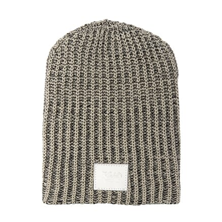 Cotton Knit Beanie with Leather Patch