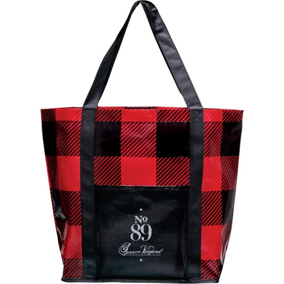 Tote bag with buffalo plaid pattern
