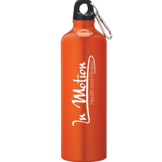 Orange stainless steel water bottle with carabiner