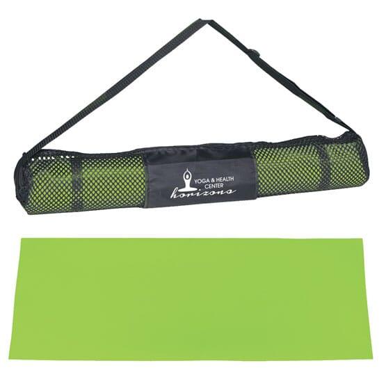 Green Yoga Mat with Black Mesh Carrying Bag