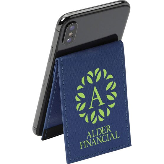 Navy blue phone wallet with green logo acting as a stand for a black smartphone.