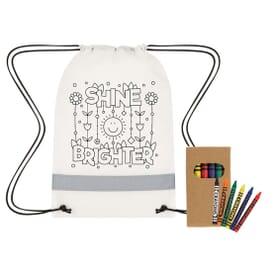 Lil' Bit Reflective Coloring Drawstring Bag w/ Crayons
