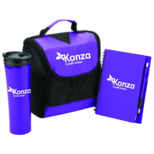Matching purple and black tumbler, lunch bag and notebook with pen, all with white logos
