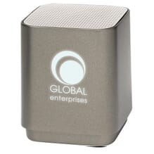 Graphite Bluetooth speaker with illuminated logo