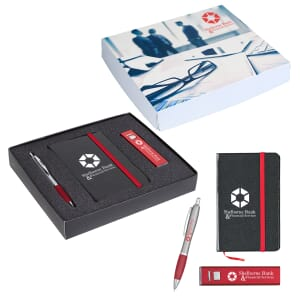 Black and red notebook, red and silver pen and a red and silver power bank, all with white logos