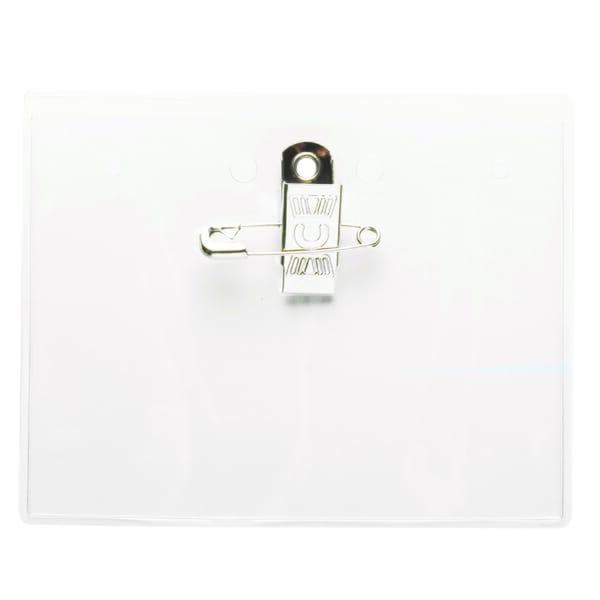 Clear Vinyl Badge Holder with Bulldog Clip & Pin