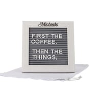 Whitewashed wood frame with gray plastic message board
