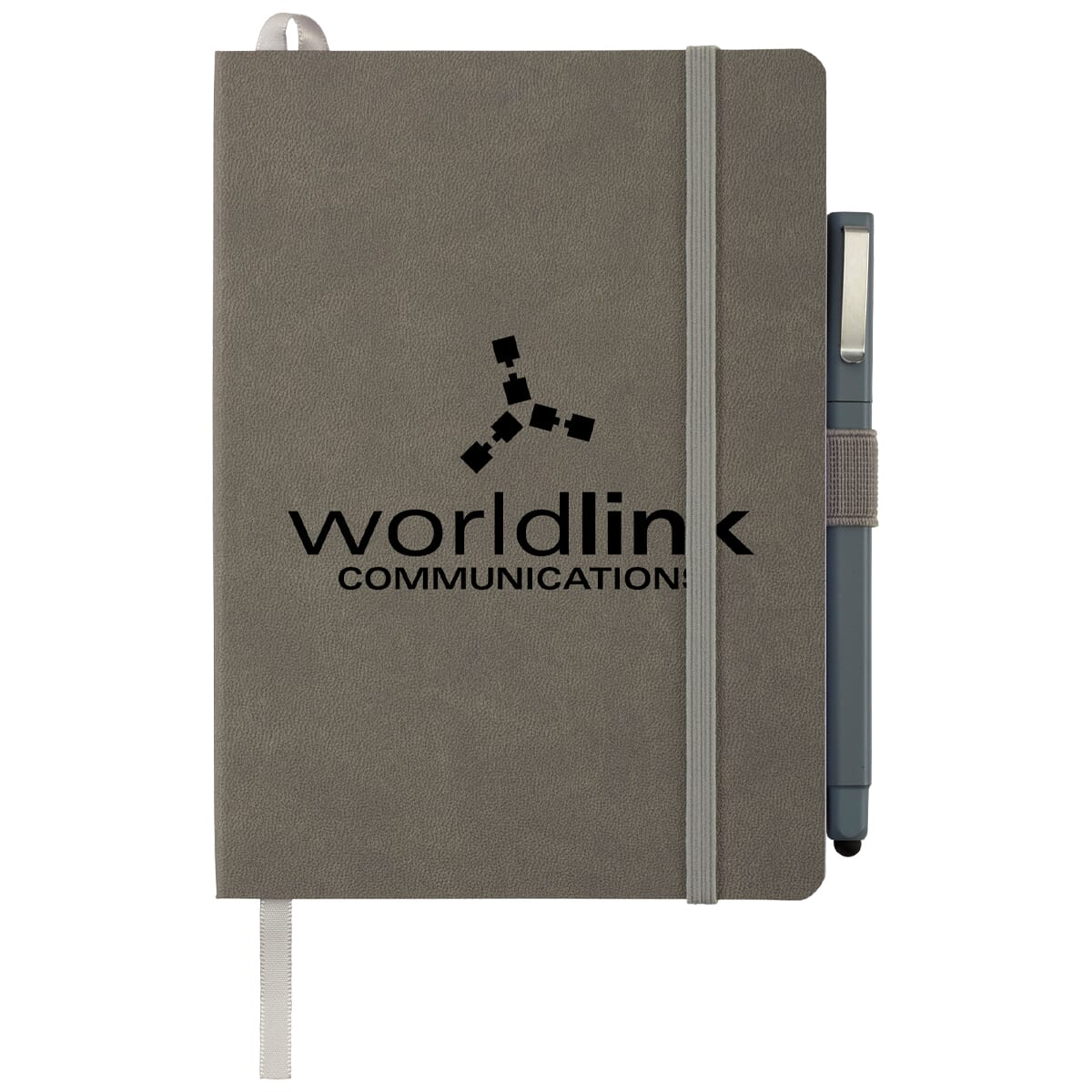 Customized gray notebook with stylus pen