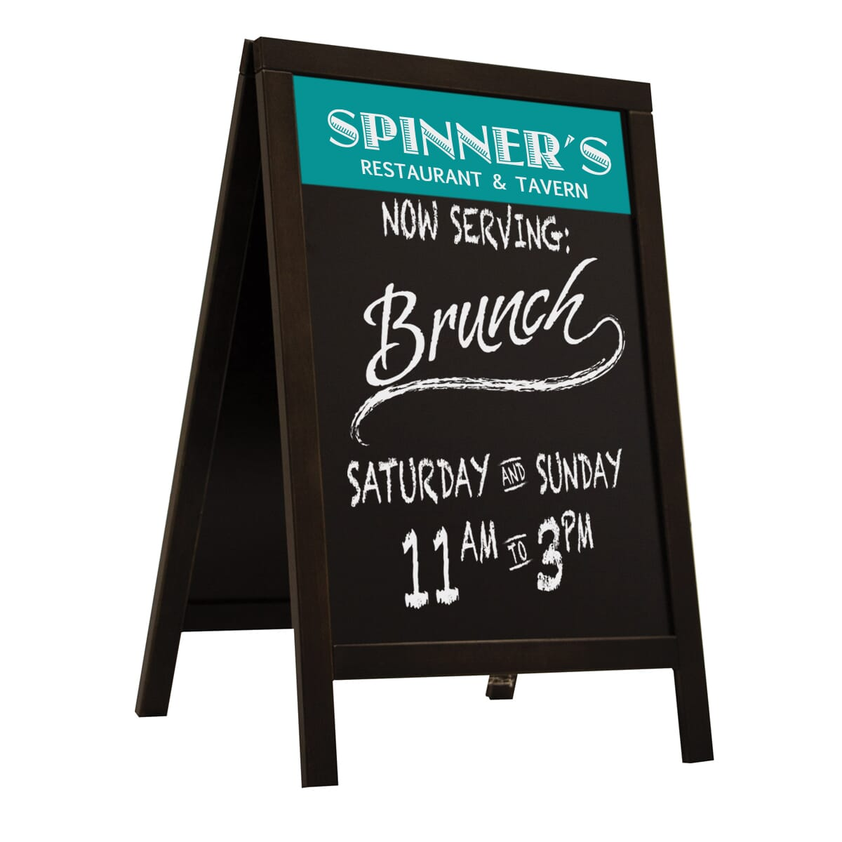 Black wooden A-frame chalkboard sign with blue and white logo and white chalk handwriting