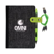 Grey and black heathered notebook with white logo, attached green pen and attached green charging cable