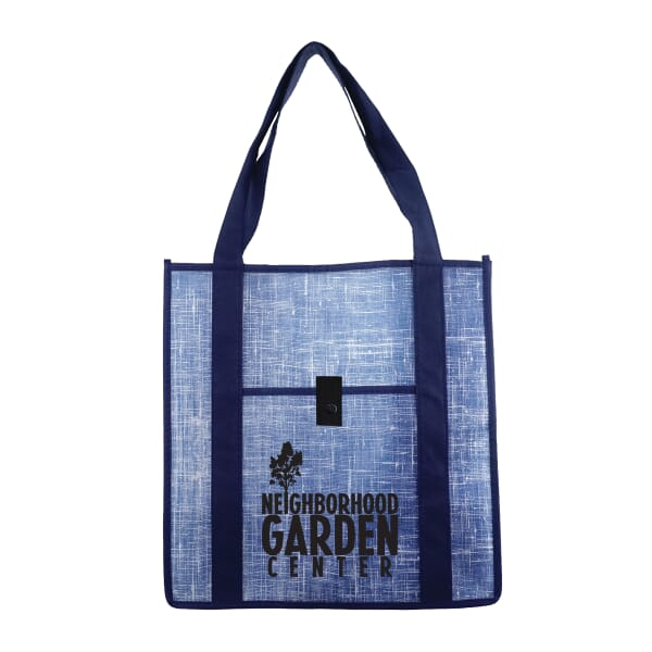 Blue Denim-Look Reusable Shopping Bag
