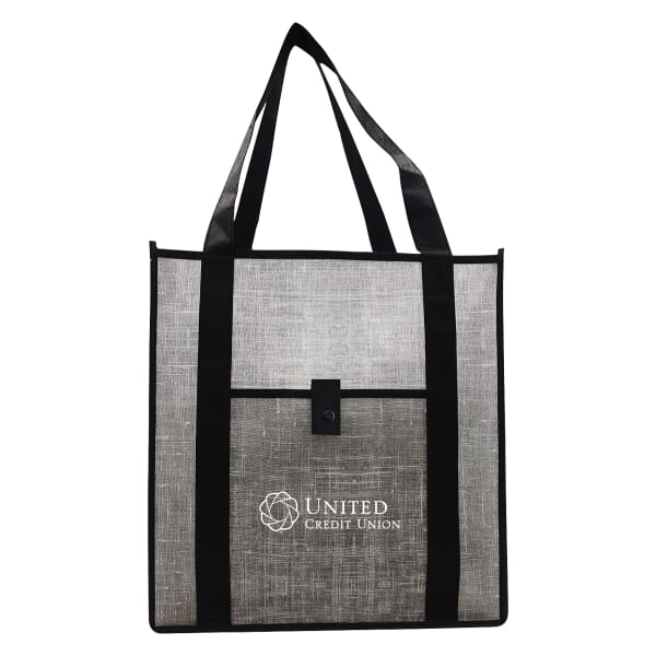 Gray Denim-Look Reusable Shopping Bag