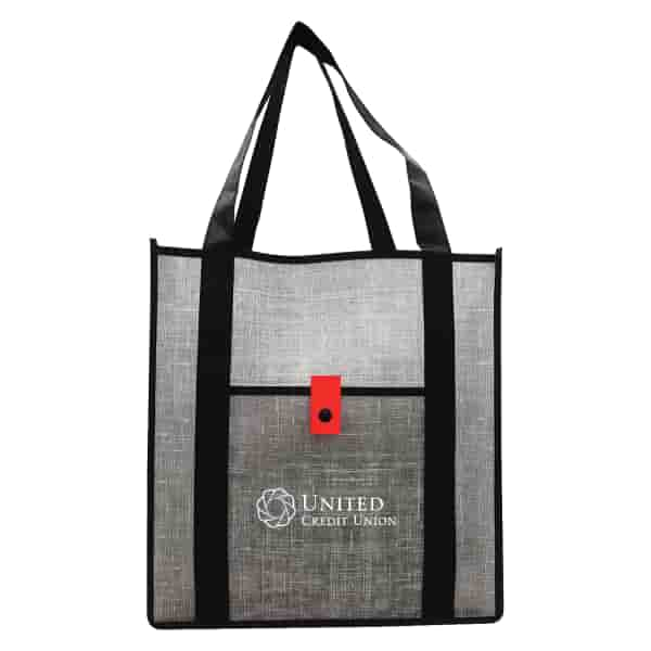 Gray Denim-Look Reusable Shopping Bag