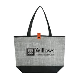 Gray Denim-Look Tote Bag