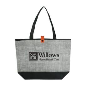 Gray Denim-Look Tote Bag