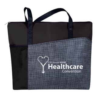 Black tote bag with gray front panel and white logo