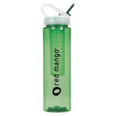 Green water bottle with removable infuser bottle