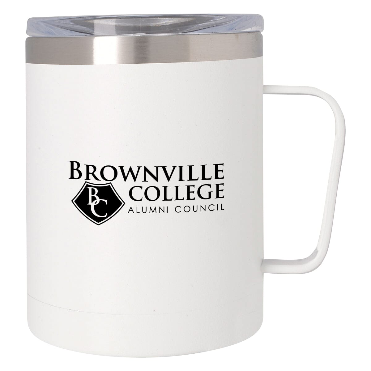 Travel coffe mug with lid, handle, and logo